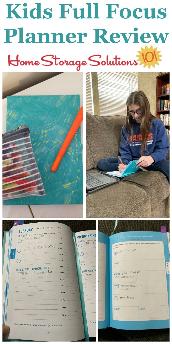 Here is my review as a parent, as well as my daughter's review of the Kids' Full Focus Planner, as we work through our first semester of virtual school {on Home Storage Solutions 101} #FullFocusPlanner #KidsPlanner #StudentPlanner