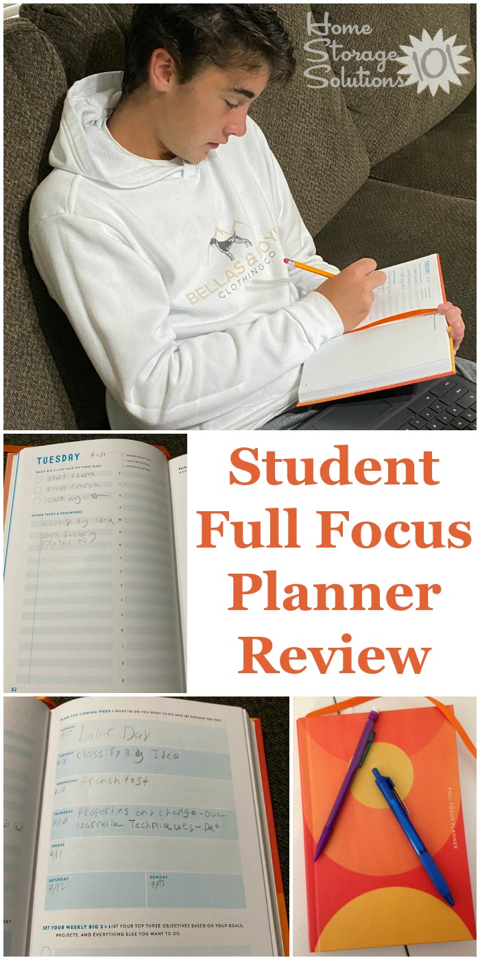Here is my review as a parent, as well as my son's review of the Student Full Focus Planner, as we work through our first semester of virtual school {on Home Storage Solutions 101} #FullFocusPlanner #KidsPlanner #StudentPlanner