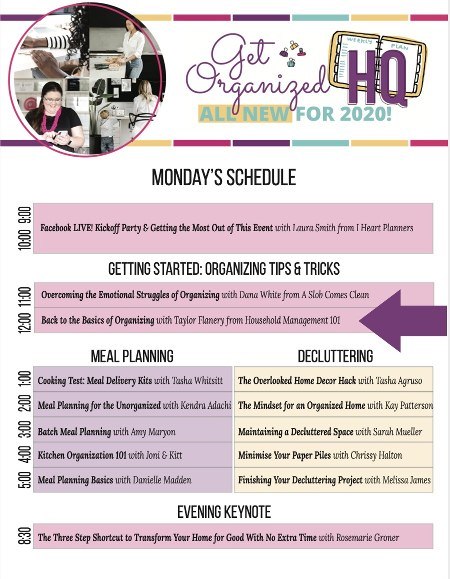 Monday's schedule for Get Organized HQ 2020