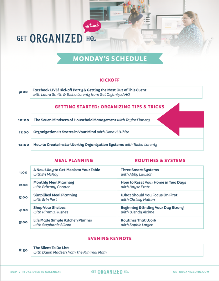 Monday's schedule for Get Organized HQ 2021