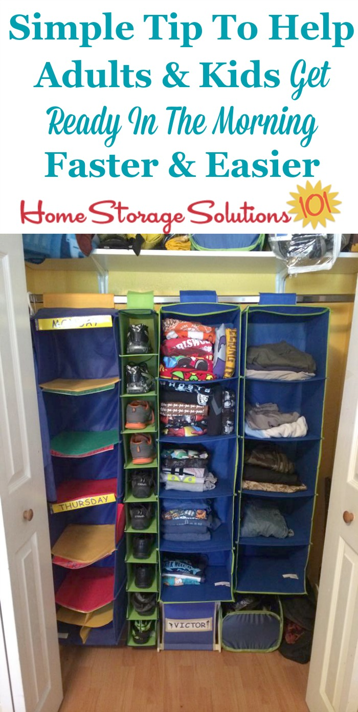 If you struggle to get yourself or your kids dressed and out the door quickly and easily in the morning use this simple tip, of laying out clothes the night or week before, to get ready in the morning more easily {on Home Storage Solutions 101} #OrganizedLife #MorningRoutine #OrganizingTip