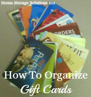how to organize gift cards