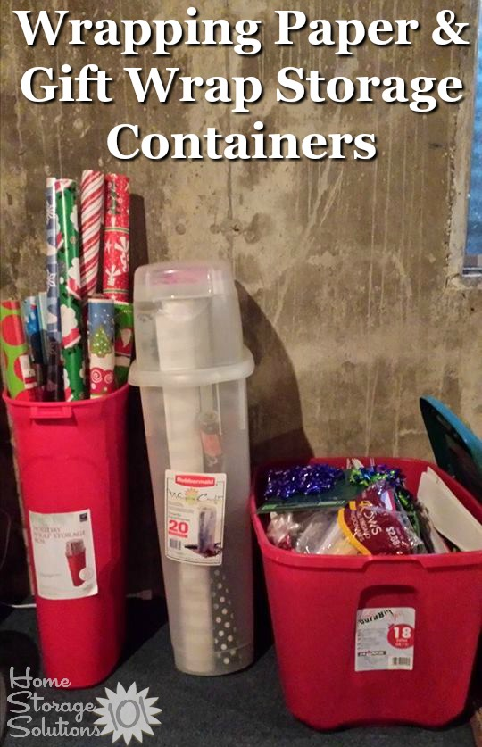 Wrapping paper and gift wrap storage containers for your home {on Home Storage Solutions 101} #ChristmasStorage #HolidayStorage #WrappingPaperStorage