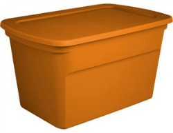 Click to buy orange plastic storage bins from Walmart!