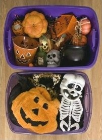Click to buy Halloween plastic storage bins from Walmart!
