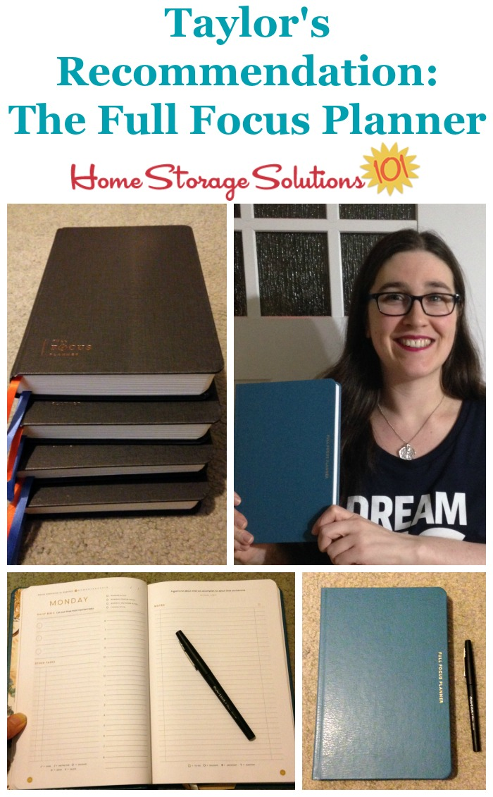 If you're looking for a planner as part of your home office supplies, Taylor recommends the Full Focus Planner, which she uses daily {more information on Home Storage Solutions 101}