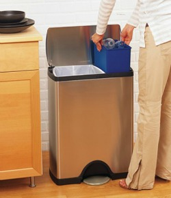 simplehuman rectangular step recycler & Create A Home Recycling Center To Make It Easy To Go Green
