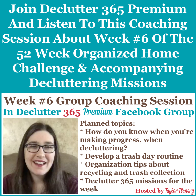 Join Declutter 365 premium and listen to this coaching session about Week #6 of the 52 Week Organized Home Challenge and accompanying decluttering missions, about trash and recycling centers, as well as other areas of your home {on Home Storage Solutions 101}