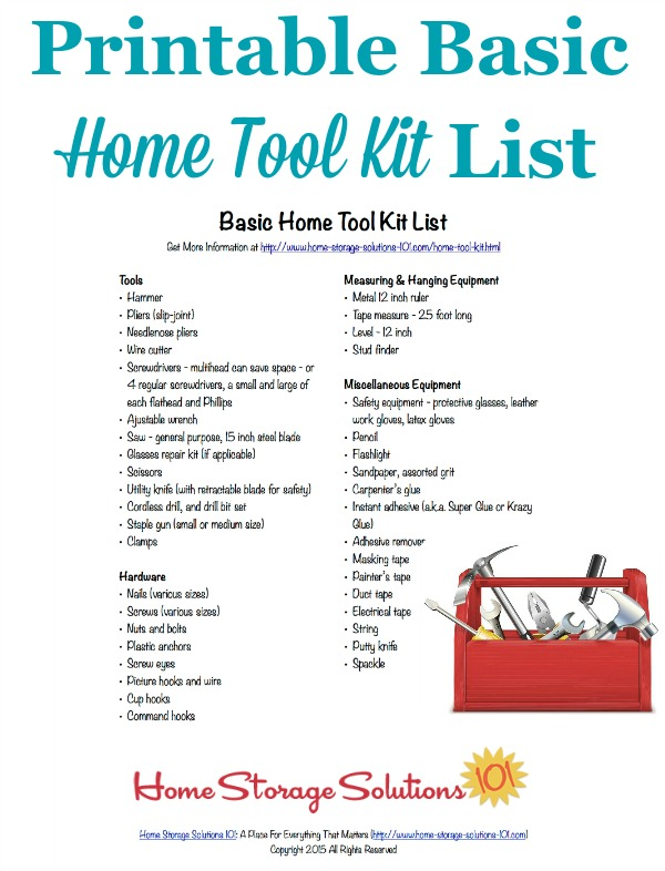 Free Printable Home Tool Kit List To Make Sure You Have All The Essential Tools Necessary Use