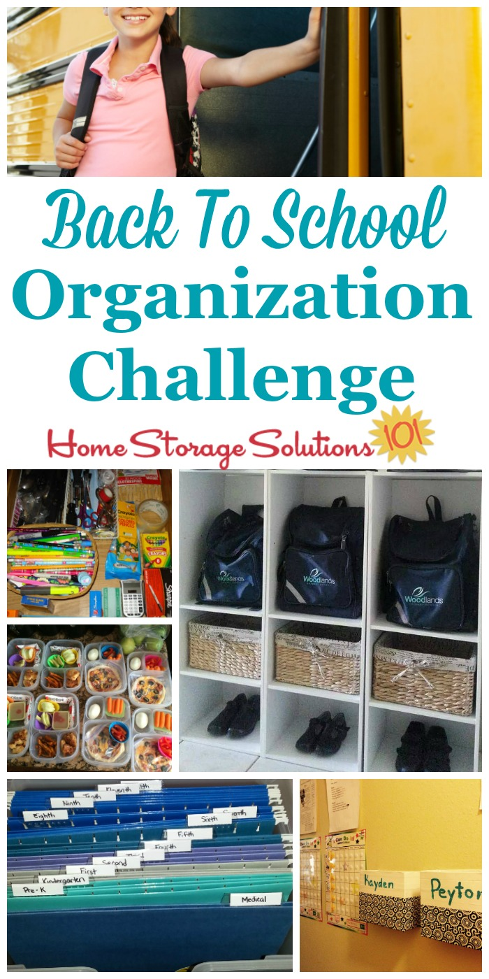 Step by step instructions for back to school organization, including creating a morning launch pad, creating a homework area for kids, and organizing school papers {part of the 52 Week Organized Home Challenge on Home Storage Solutions 101}