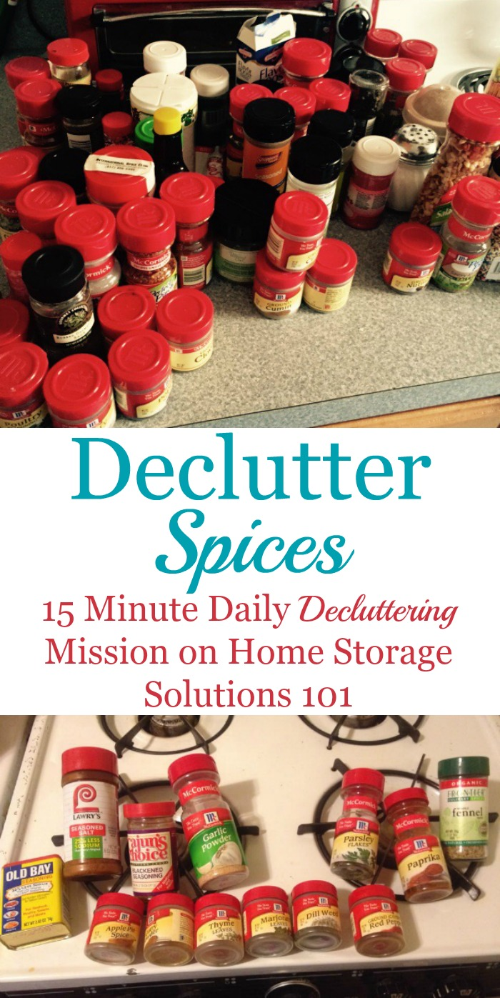 How to #declutter spices in your pantry or kitchen, including tips for how long spices last to know when to toss old seasonings and spices {a #Declutter365 mission on Home Storage Solutions 101} #PantryOrganization