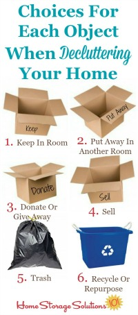 Choices for each object when decluttering your home