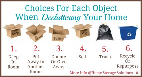 Figuring out how to #declutter is as simple as making one of these six choices for each item you touch during the process. Find out more in Home Storage Solutions 101 #decluttering series.