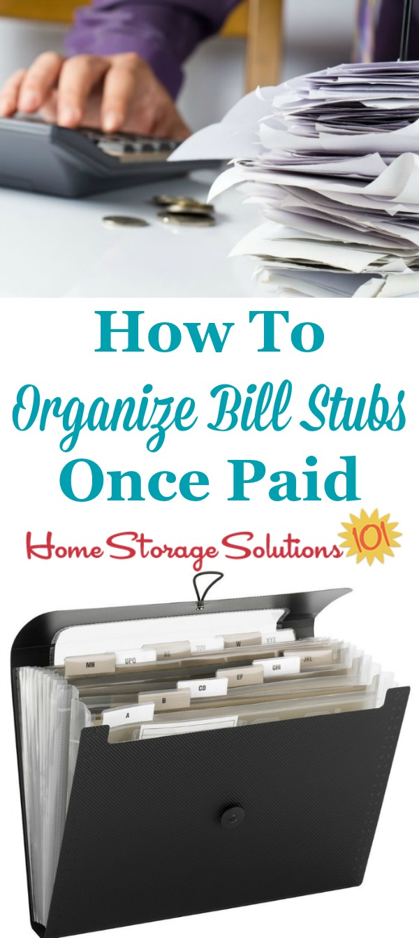 How to organize bills once they've been paid and you're just left with the statement or stub {on Home Storage Solutions 101} #OrganizeBills #BillOrganization #HomeFilingSystem