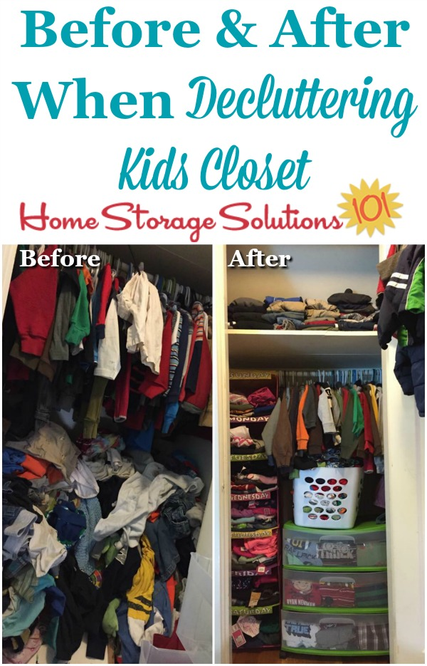 Before and after when decluttering kids closet {on Home Storage Solutions 101} #DeclutterCloset #Decluttering #ClosetOrganization