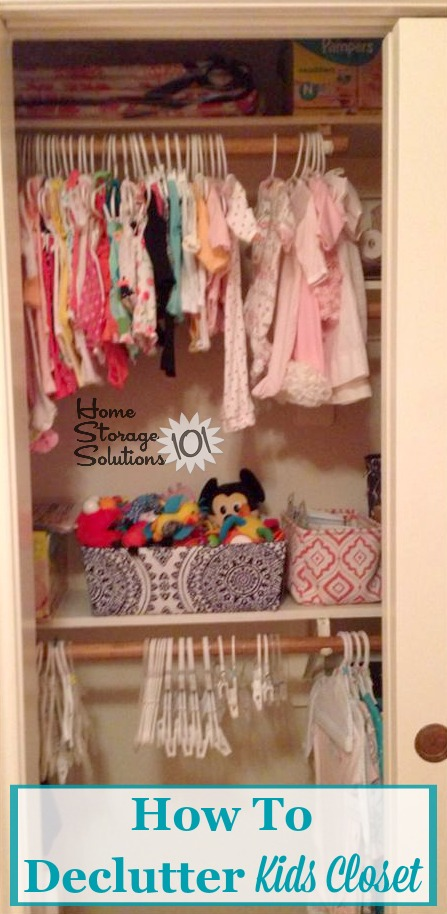 How to declutter kids closet, including of excess hanging clothes, toys, hangers, and items on shelves and drawers {on Home Storage Solutions 101}