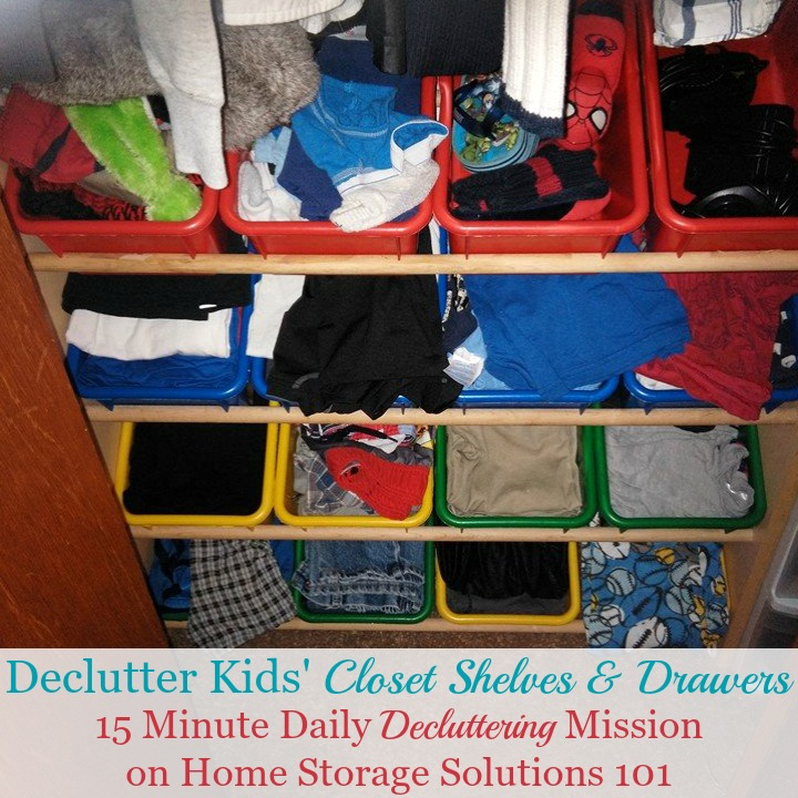 How to declutter kids' closet shelves and drawers {a #Declutter365 mission on Home Storage Solutions 101} #ClosetClutter #DeclutterCloset