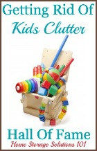 getting rid of kids clutter hall of fame