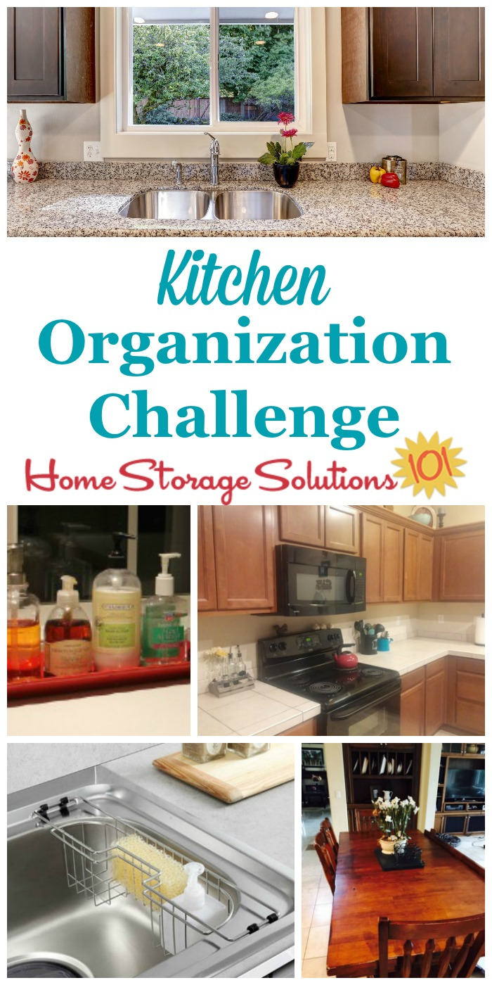 In the kitchen organization challenge you'll get step by step instructions for how to organize all aspects of your kitchen, specifically focusing this week on flat surfaces such as countertops, the sink area, and kitchen table, and then the following week on the drawers and cabinets {part of the 52 Week Organized Home Challenge on Home Storage Solutions 101} #52WeekChallenge #OrganizedHome #KitchenOrganization