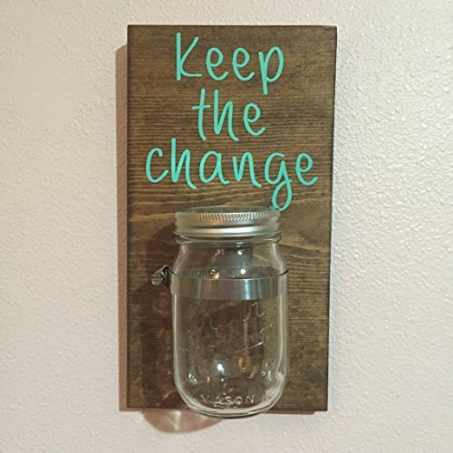 Keep the change laundry room jar sign, to act as both a cute laundry room decoration, as well as serve to practically hold change from pockets {featured on Home Storage Solutions 101}