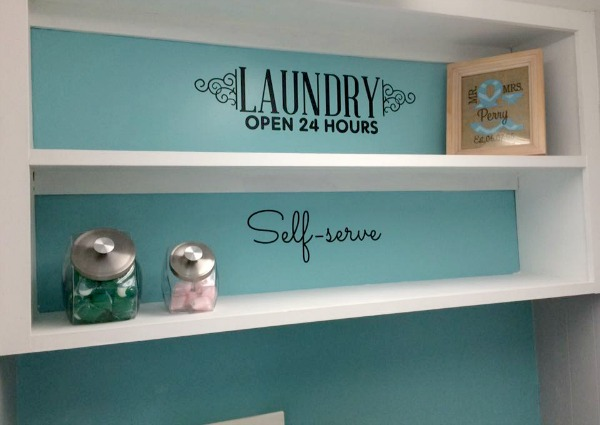 Ideas For Laundry Room Decor Including Vinyl Wall Decals And Detergent Storage Containers