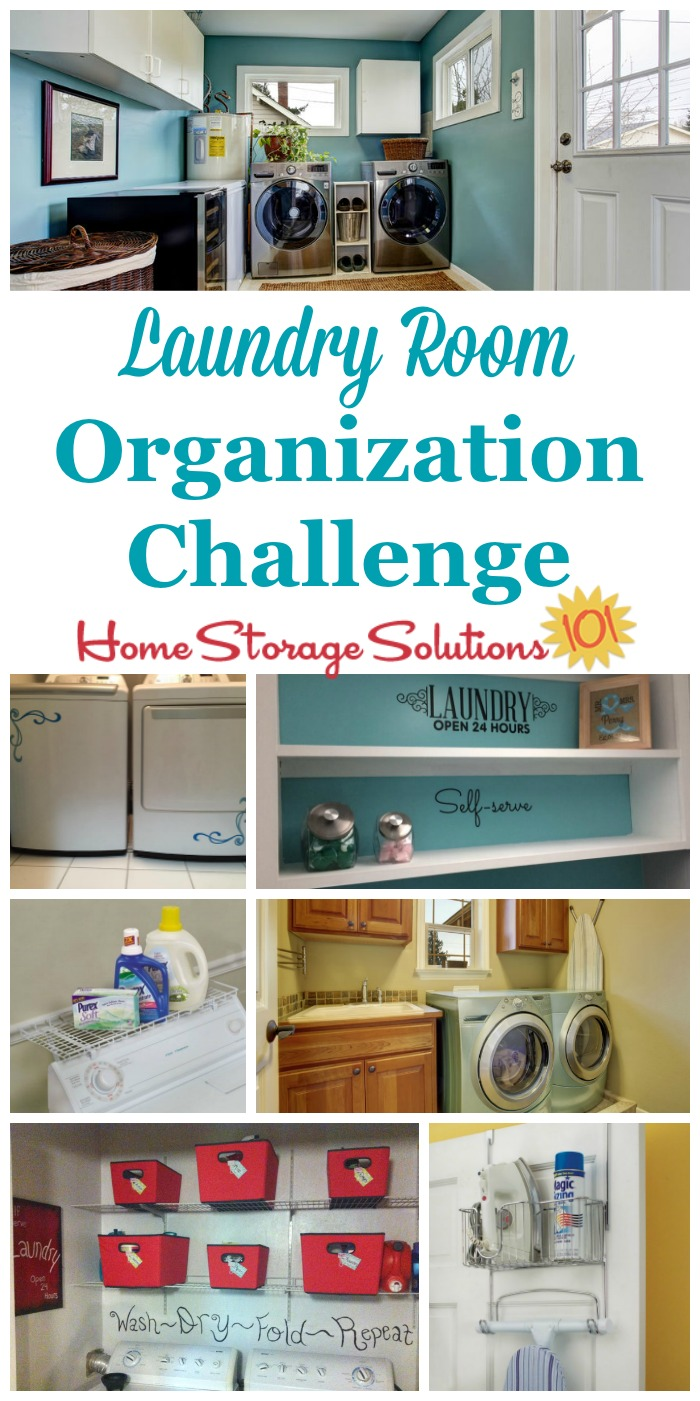 Step by step instructions for laundry room organization, including zones for the large appliances, laundry supplies, and more {part of the 52 Week Organized Home Challenge on Home Storage Solutions 101} #OrganizedHome #LaundryRoomOrganization #OrganizingTips