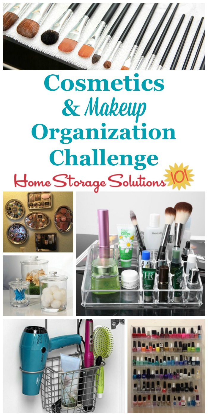 Here are step by step instructions for cosmetic and makeup organization, including for makeup, toiletries, nail polish and perfumes, and more {part of the 52 Week Organized Home Challenge on Home Storage Solutions 101}