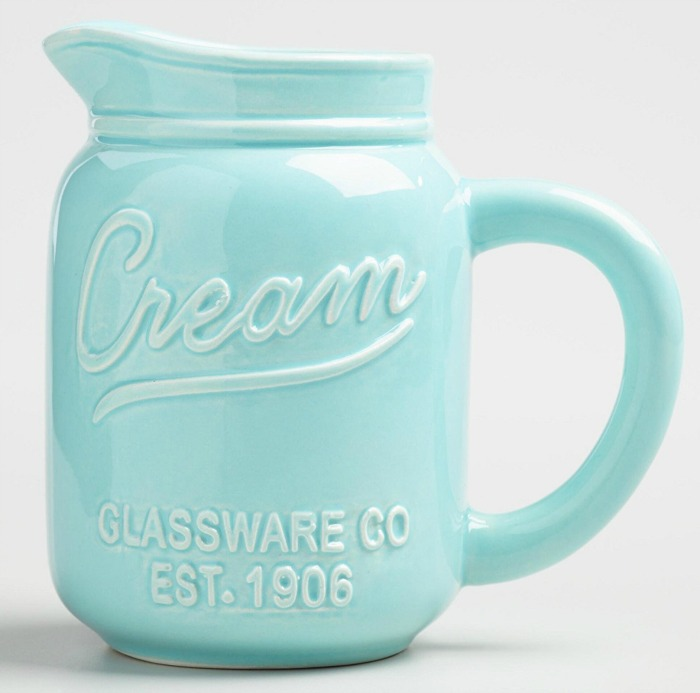 Mason Jar gift ideas: Mason Jar creamer pitcher, for a both beautiful and functional decoration on your kitchen table {featured on Home Storage Solutions 101}