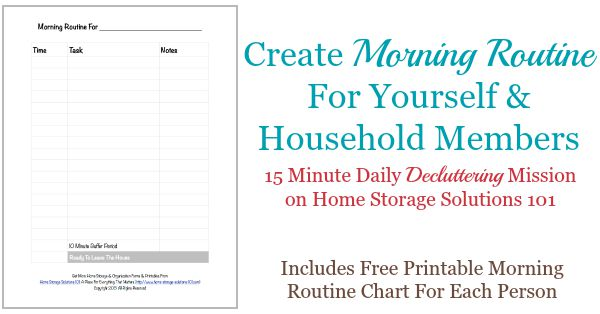 Create a morning routine for yourself and household members, includes free printable morning routine chart