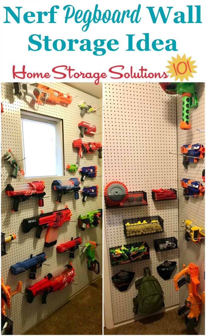 Use a pegboard for Nerf storage, of both the blasters and accessories such as the foam darts {on Home Storage Solutions 101} #ToyStorage #PegBoard #Organization