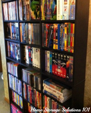 videos and DVDs on shelf