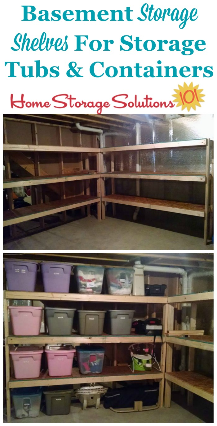 Basement storage shelves for storage tubs and containers, shown both unfilled and filled {featured on Home Storage Solutions 101}
