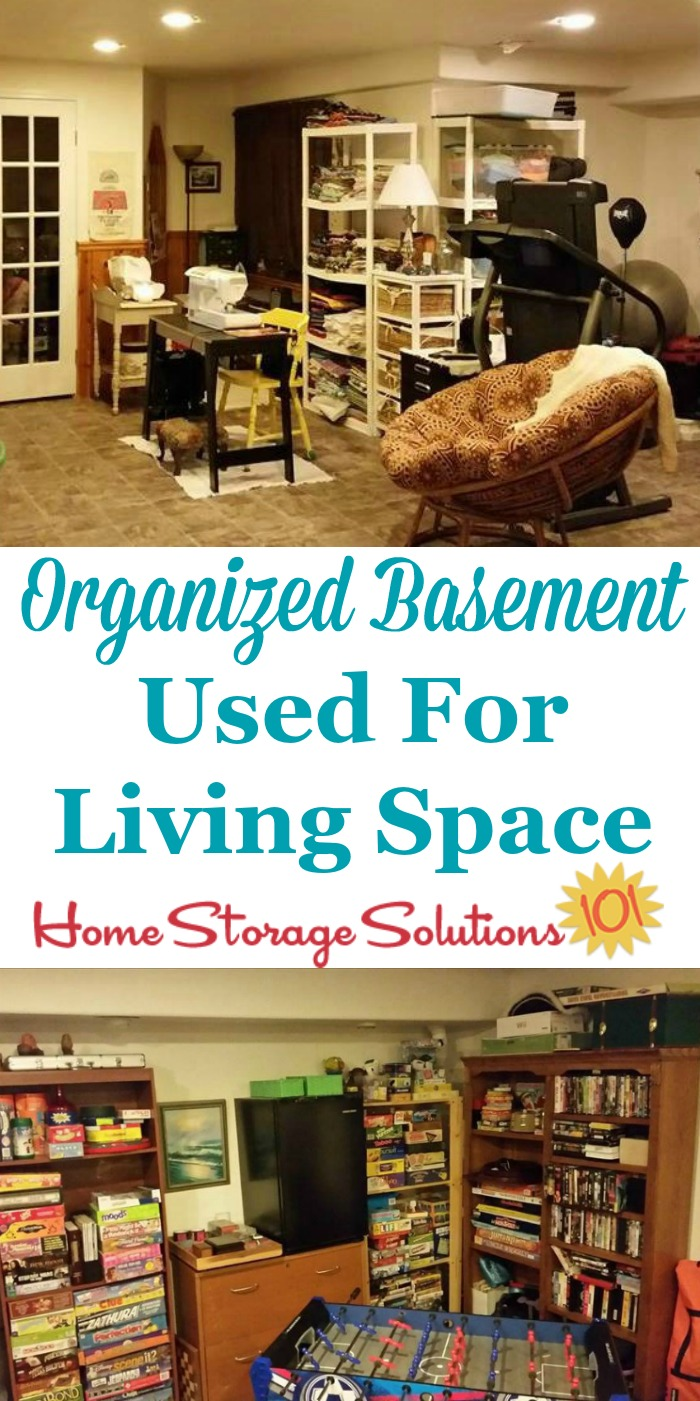 Organized basement used for living space, for crafting, exercise, and as a game room {featured in the Organize Basement hall of fame on Home Storage Solutions 101}