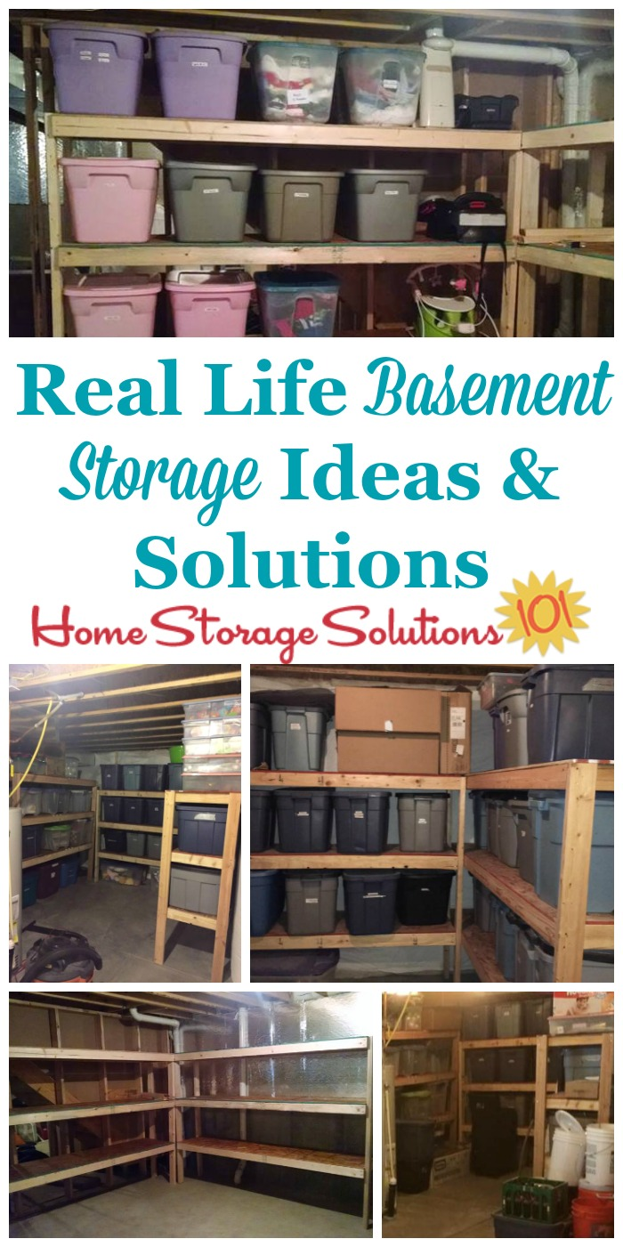 Real life basement storage ideas and solutions {featured on Home Storage Solutions 101} #BasementStorage #StorageSolutions #BasementOrganization