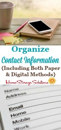 Ideas for how to organize contact information, including both paper and digital methods