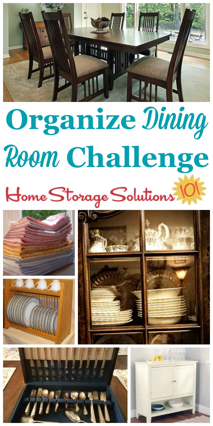 Step by step instructions for how to organize your dining room, including common items found in this space such as china, silver, and table linens {part of the 52 Week Organized Home Challenge on Home Storage Solutions 101}