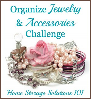 Step by step instructions for how to organize jewelry and accessories challenge, including ties, belts, hair accessories, and sunglasses {on Home Storage Solutions 101}