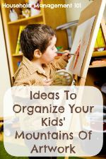 ideas to organize your kids' mountain of artwork