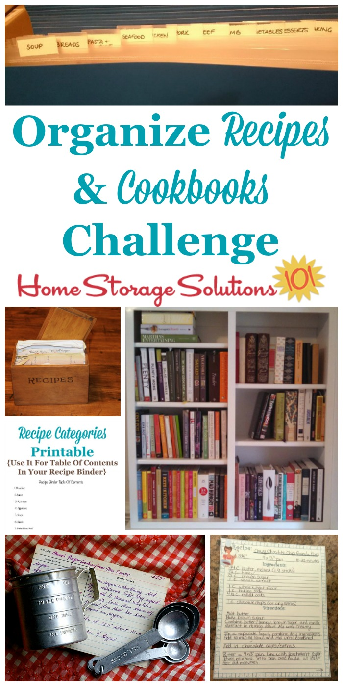 Step by step instructions for how to #organize recipes and cookbooks {part of the 52 Week Organized Home Challenge on Home Storage Solutions 101} #OrganizedHome #OrganizingTips