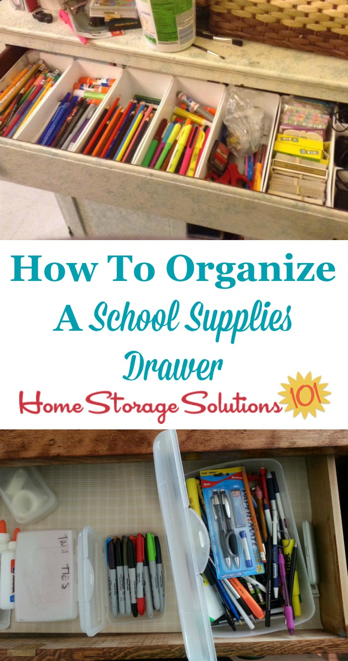 How to organize a school supplies drawer for your kids to use when doing homework and school projects {on Home Storage Solutions 101}