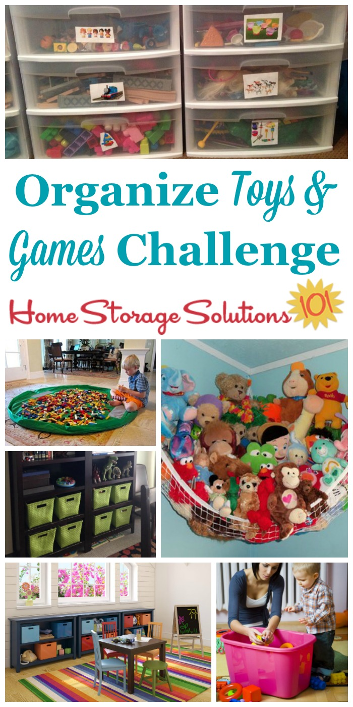 Here are step by step instructions for how to organize toys and games so your kids can actually find and play with their toys, and you don't trip over anything. Includes tips for toys with small parts, large ones, stuffed animals, board games, video games and more {part of the 52 Week Organized Home Challenge on Home Storage Solutions 101} #OrganizeToys #ToyOrganization #OrganizeGames