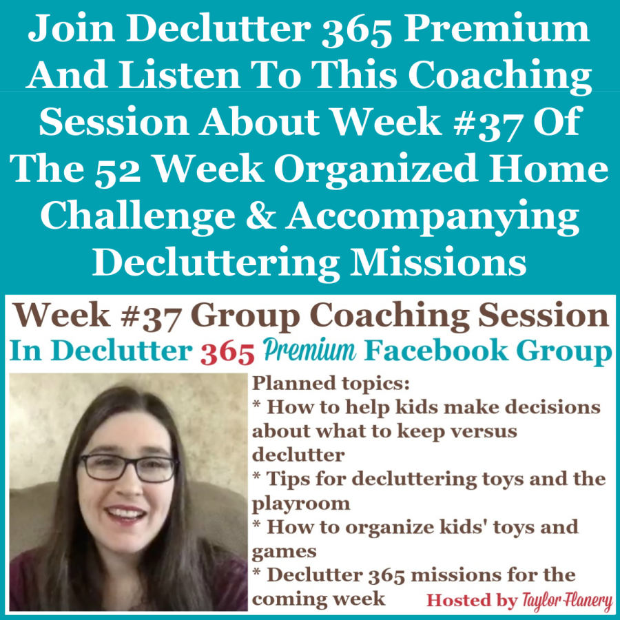 Join Declutter 365 premium and listen to this coaching session about Week #37 of the 52 Week Organized Home Challenge and accompanying decluttering missions, with a discussion of decluttering and organizing toys and games {on Home Storage Solutions 101}