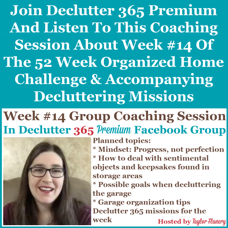 Join Declutter 365 premium and listen to this coaching session about Week #14 of the 52 Week Organized Home Challenge and accompanying decluttering missions, about decluttering and organizing your garage {on Home Storage Solutions 101}