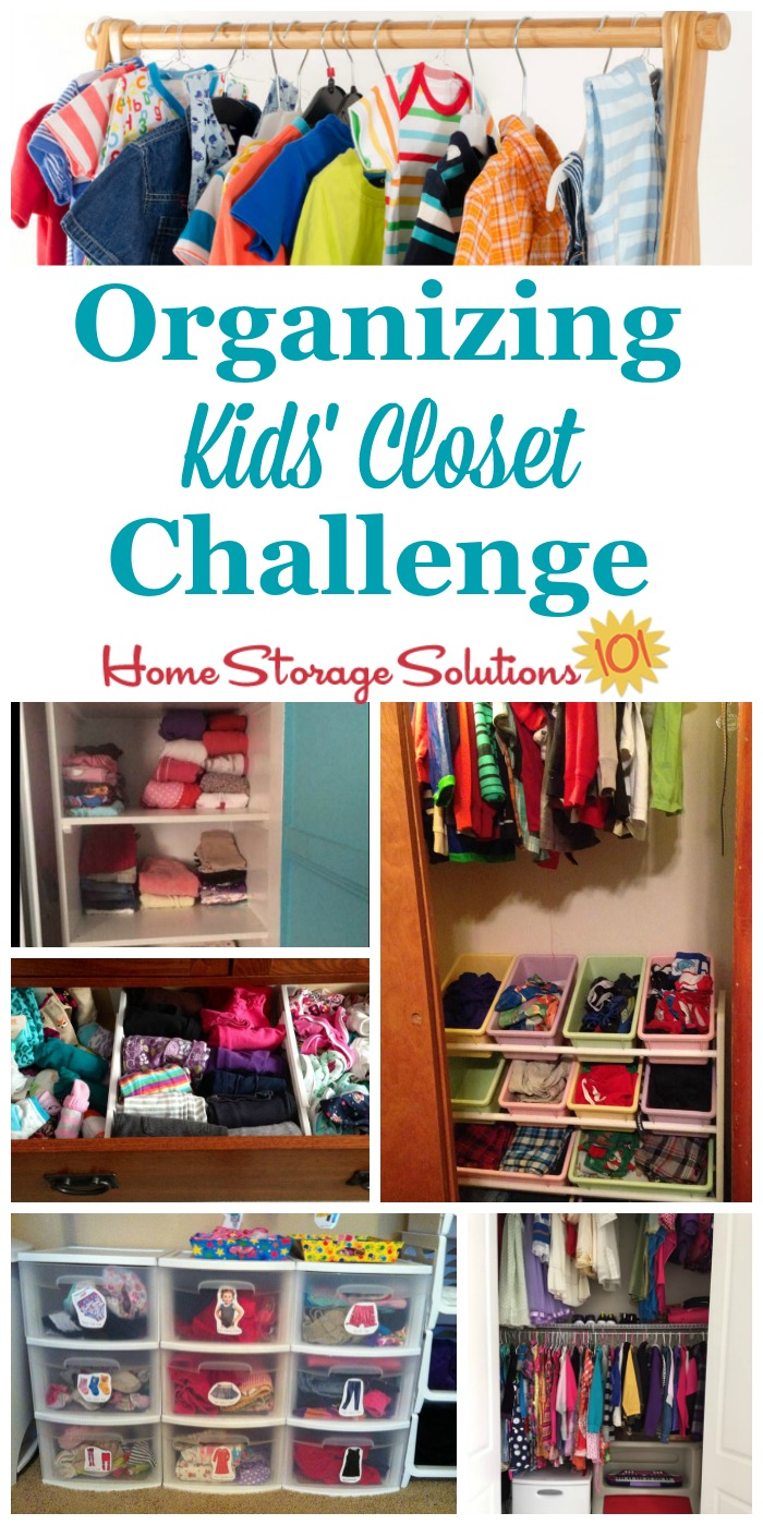 Here are step by step instructions for decluttering and organizing closet space for your kids, for their clothes and other possessions {part of the 52 Week Organized Home Challenge on Home Storage Solutions 101} #OrganizeKidsCloset #OrganizeCloset #OrganizingCloset