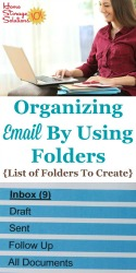 Organizing email by using folders, including a list of folders to create