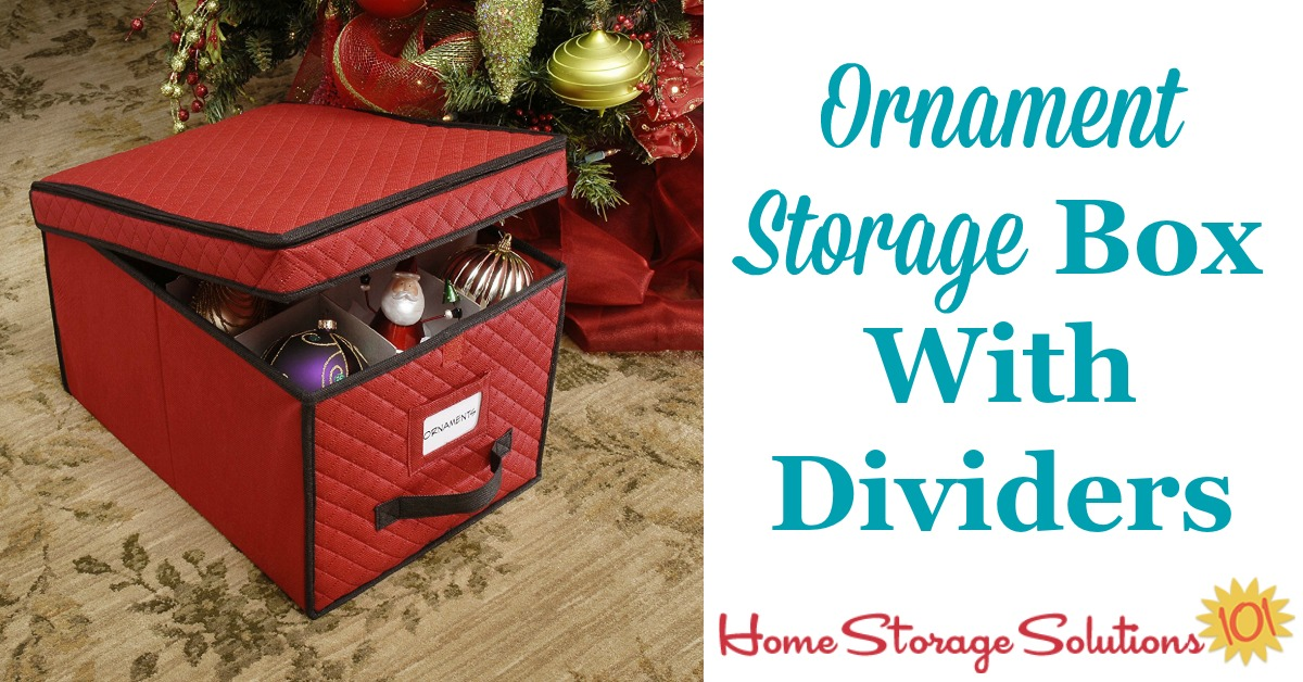 This Christmas ornament storage box holds up to 24 large ornaments, with dividers to keep the pieces both organized and from touching each other to prevent breakage {featured on Home Storage Solutions 101} #OrnamentStorage #ChristmasStorage #HolidayStorage