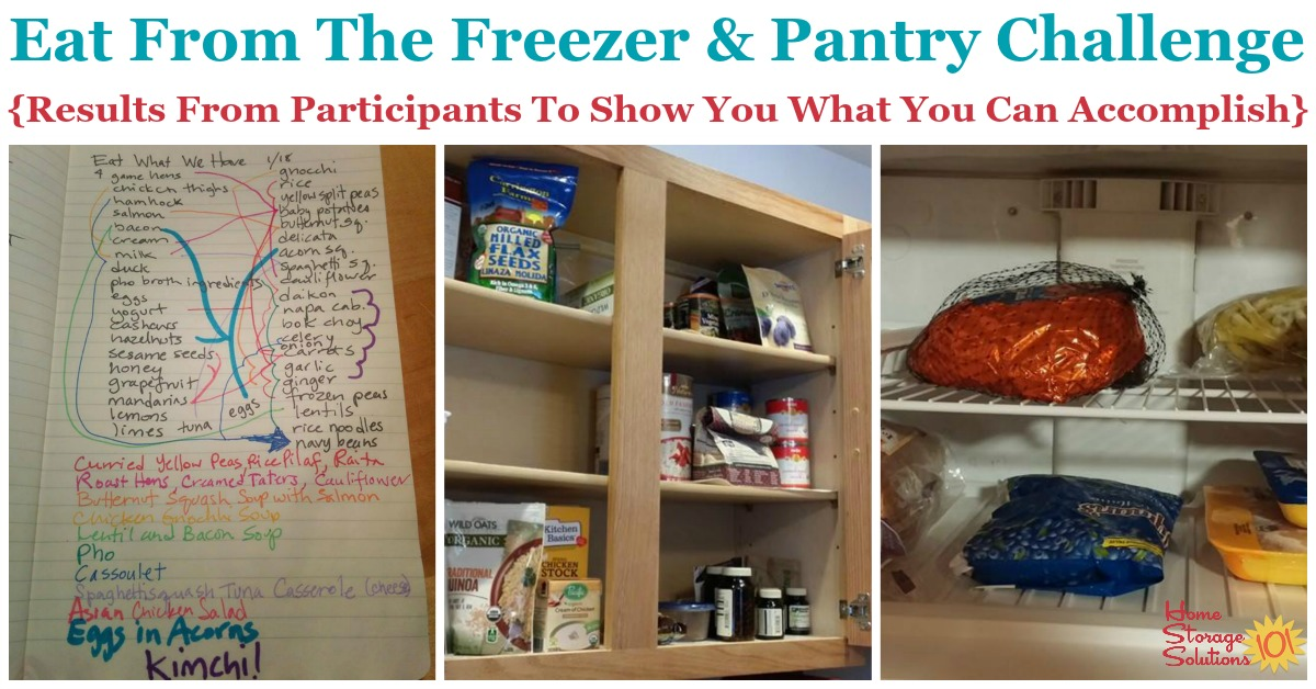 Here are results of the Eat from the Freezer & Pantry Challenge, from participants, to show what you can accomplish when you take on this simple challenge, to help you declutter food storage areas in your home, plus save money and reduce food waste {on Home Storage Solutions 101}