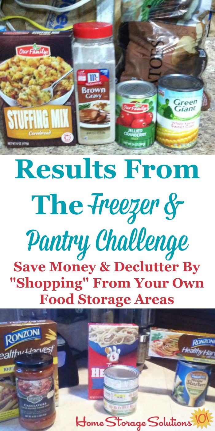Examples of ingredients for meals that participants of the Eat From The Freezer & Pantry Challenge found when they shopped in their own freezer and pantry, which helps them both declutter their food storage area of older food, and save money by reducing food waste and using the food you already have purchased {on Home Storage Solutions 101} #PantryOrganization #MealPlanning #MenuPlanning