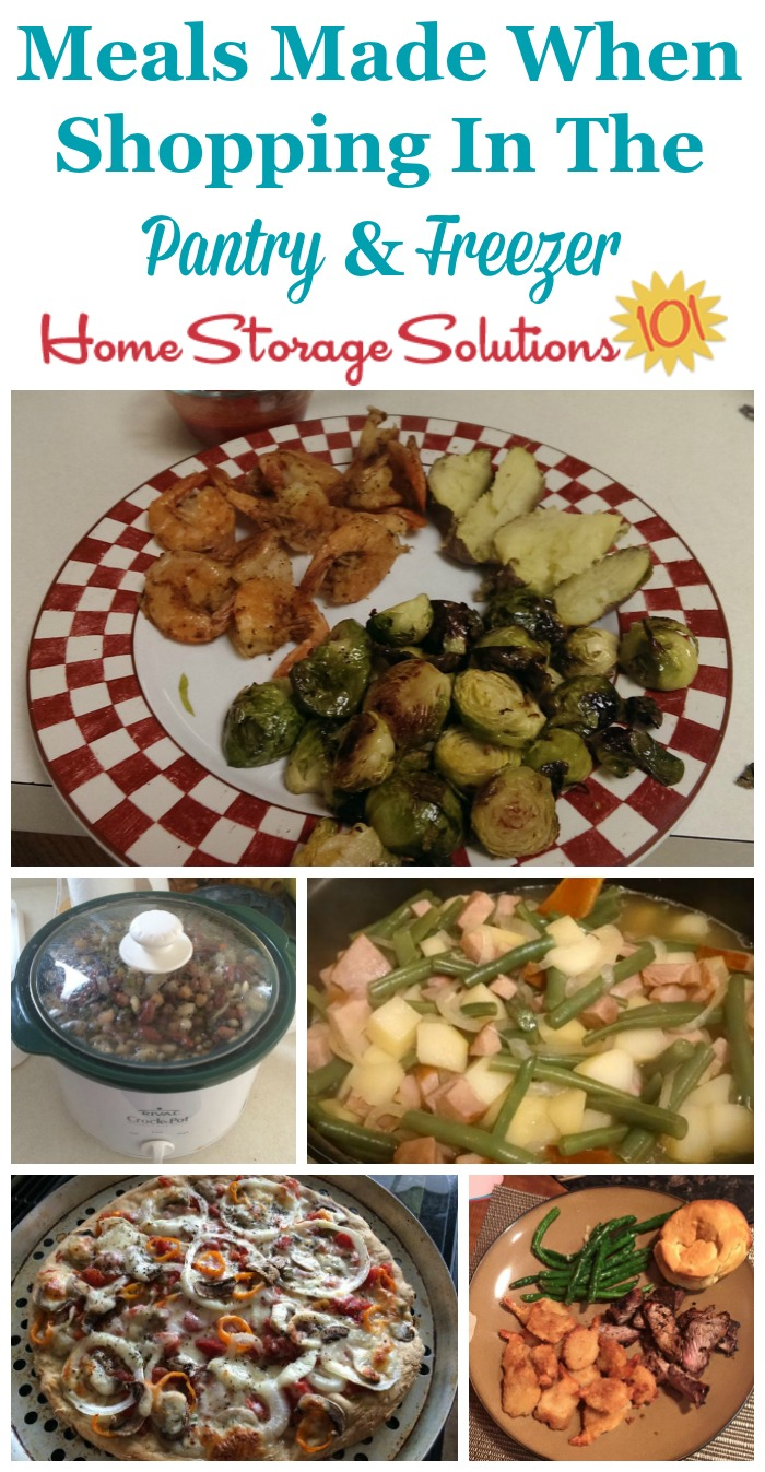 Examples of meals made by participants of the Eat From The Freezer & Pantry Challenge, showing how much variety you can find when you shop your own freezer and pantry for meals {on Home Storage Solutions 101} #PantryOrganization #MealPlanning #MenuPlanning