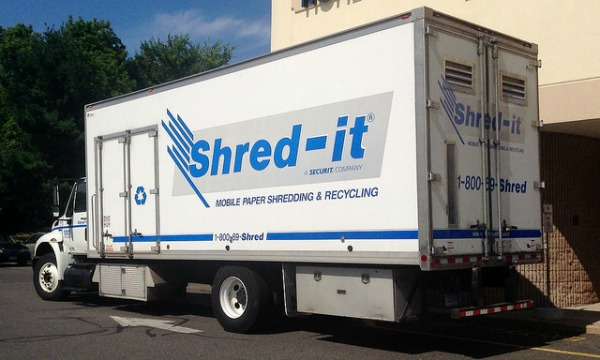 Shred-It truck, for commercial paper shredding services